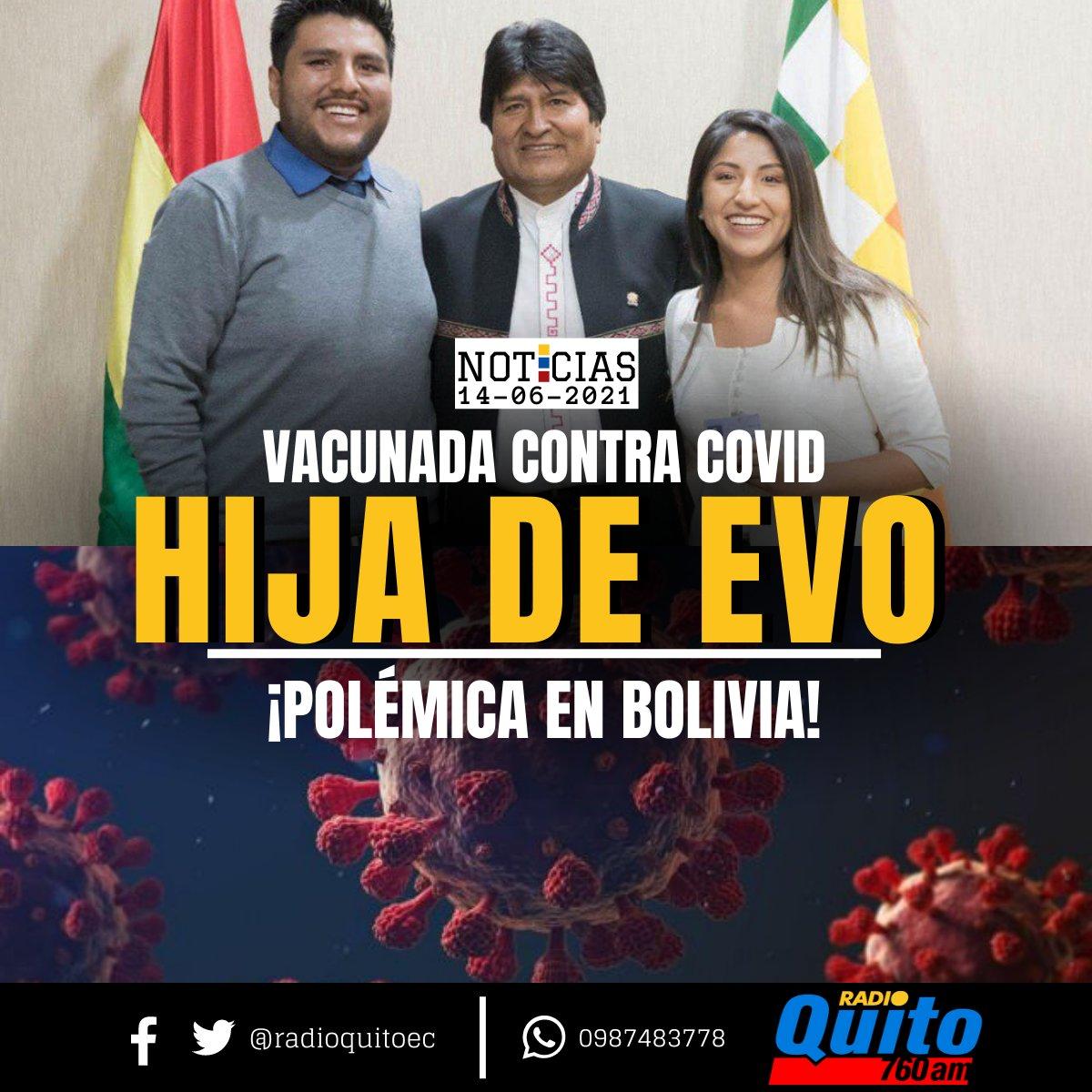 Portales verificadores bolivianos han confirmado que #EvalizMorales, hija del expresidente #EvoMorales, recibió la primera dosis de la vacuna contra la #covid_19 el 24 de mayo, fuera del calendario de inmunización por edades previsto por las autoridades del #país andino. https://t.co/DKhj1PZave