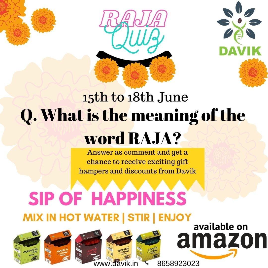 HAPPY RAJA  Answer the question as a comment and get a chance to win exciting gift hampers from Davik.  We hope YOU are the one to get it! #quiz #davik #thedavikexperience #gifthampers #contest #lifestyle #instantpremix #lovetea https://t.co/OaKPTZrv6O