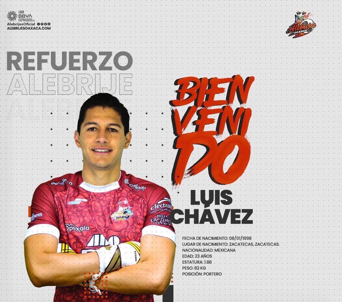 #LigaBBVAExpansionMX  ¡NOVENO!  ¡#Alebrijes 🦗 no para! Presentó a su noveno refuerzo de cara al Apertura 2021, el arquero Luis Chávez. https://t.co/Glf50WwKTj