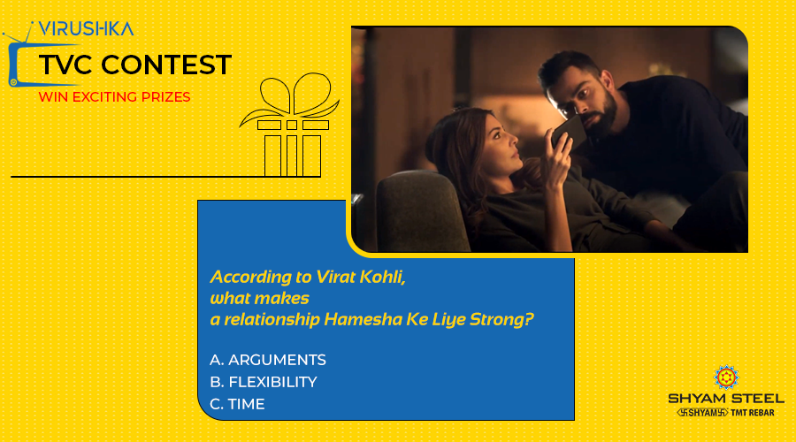 According to the video, what makes a relationship #Hamesha_Ke_Liye_Strong? Watch the video & let us know the correct answer! Winners will stand a chance to win exciting prizes!  https://t.co/hi7zdPRedT  #Virushka #Virat #Anushka #Contest #TVCContest #ContestAlert #ShyamSteel https://t.co/2SRPG07LXU