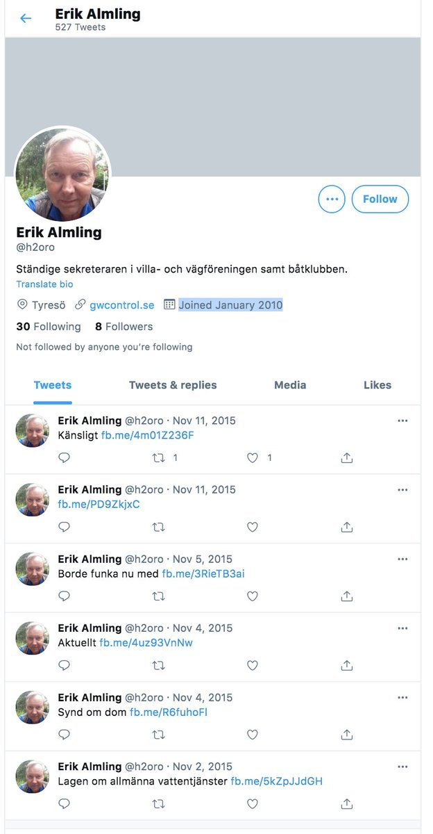From above we can see that Janine is somewhere in Australia (w/ Swedish activism)As we can see from 3 first followers, two are from New York, and also 2 looks like bots who finished posting long time ago. One from them has 654 followers with 12 tweets, last message 2018: