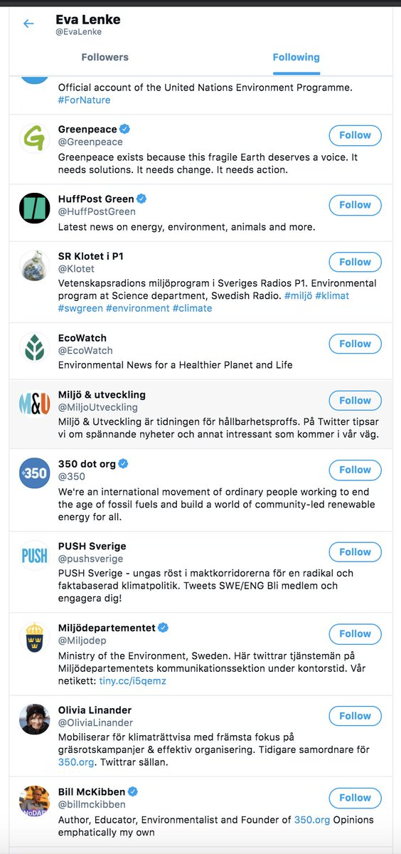Now interesting, we have another actor: Eva Lenke in first 10 followers!Who Eva follows?Just 3 matches in first 49: Bill McKibben, Naomi Klein, Pär HolmgrenNot much, but if you analyze common following there're a lot more common interests surnames: