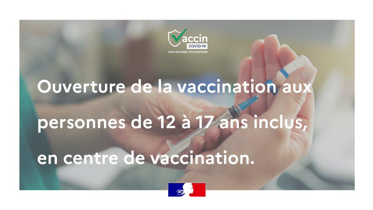 #COVID19 |La vaccination s'élargit aux adolescents de 12 à 17 ans inclus, sans conditionsL'autorisation des 2 parents est obligatoire Téléchargez l'attestation : solidarites-sante.gouv.fr/IMG/pdf/fiche_… Le consentement de l'adolescent est requisPrenez rdv sur sante.fr https://t.co/pUoBH7Zgxl
