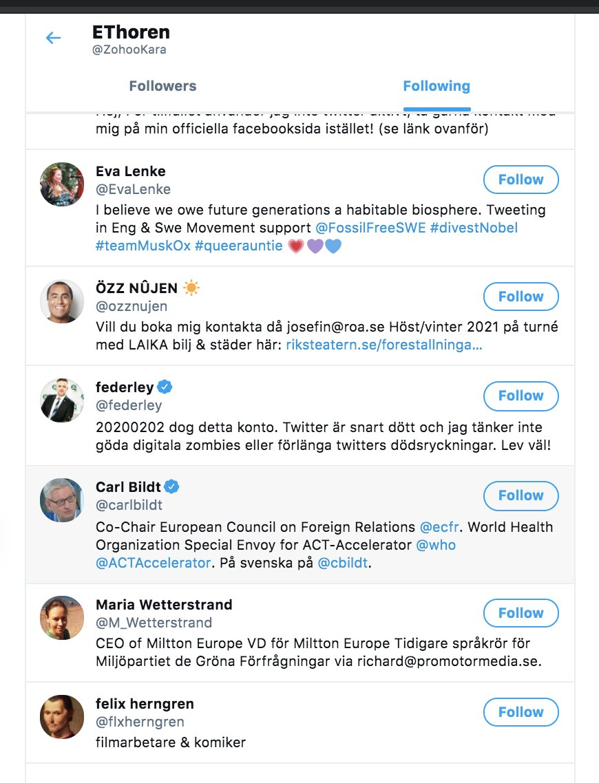 Svein T veitdal see potential at once, he is follower number 6 for Eva.Same as Greta is 10th follower of Janine (see above in thread).Eva's 2n follower EThoren follows has only 1 follower - Eva.