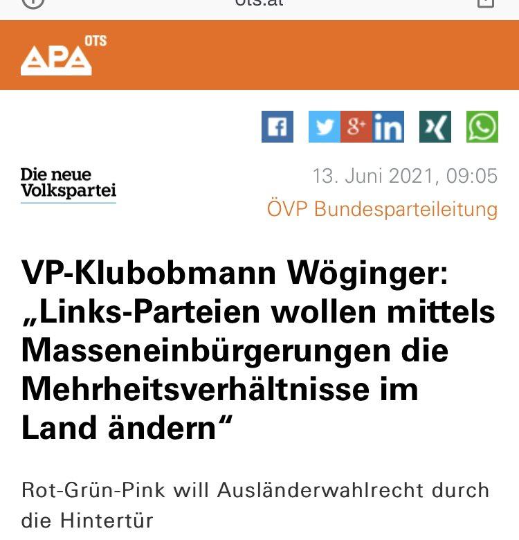 """VP-Klubobmann Wöginger: """"Links-Parteien wollen mittels Masseneinbürgerungen die Mehrheitsverhältnisse im Land ändern"""" Rot-Grün-Pink will Ausländerwahlrecht durch die Hintertür"""