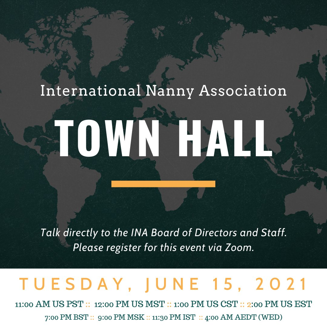 Don't miss our June Town Hall this afternoon! We will be having a conversation about wellness, hosted by Erynne Elkins, INA Administrative Assistant.   https://t.co/4vf6cHcjMd Tuesday, June 15, 2021 11:00 AM US PST 12:00 PM US MST 1:00 PM US CST 2:00 PM US EST 7:00 PM BST https://t.co/ZQQNizdbvc
