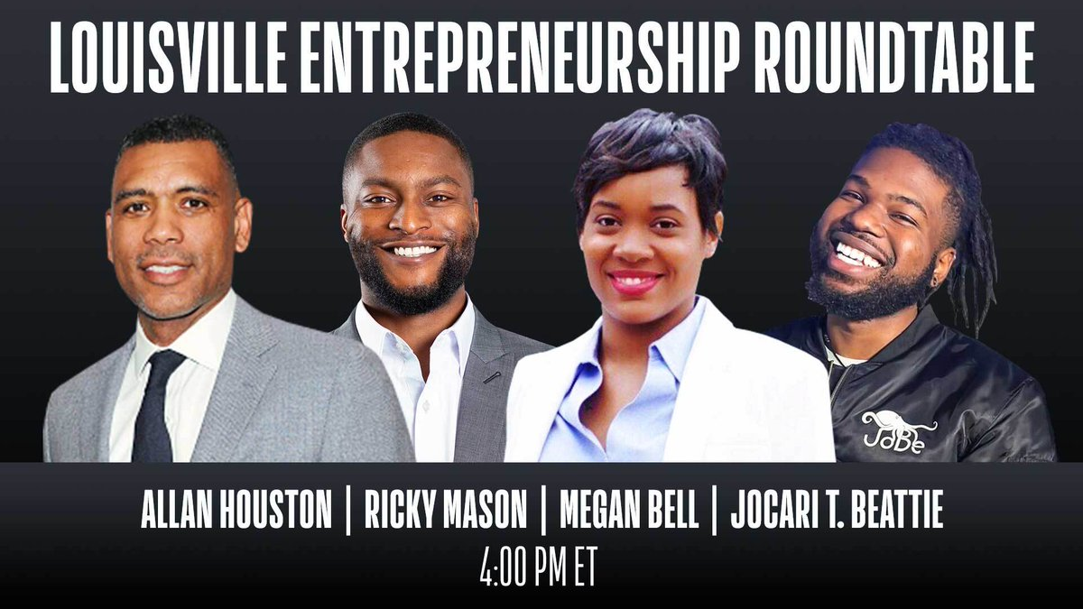 Tune in to today's Louisville Entrepreneurship Roundtable at 4pm/et on @NBA as 2x NBA All-Star @ALLAN_HOUSTON discusses the challenges and opportunities facing entrepreneurs of color with founders Ricky Mason, Megan Bell and JoCari Beattie. @FISLL @Fanatics @JoinReunion https://t.co/j9lVzqnxw6