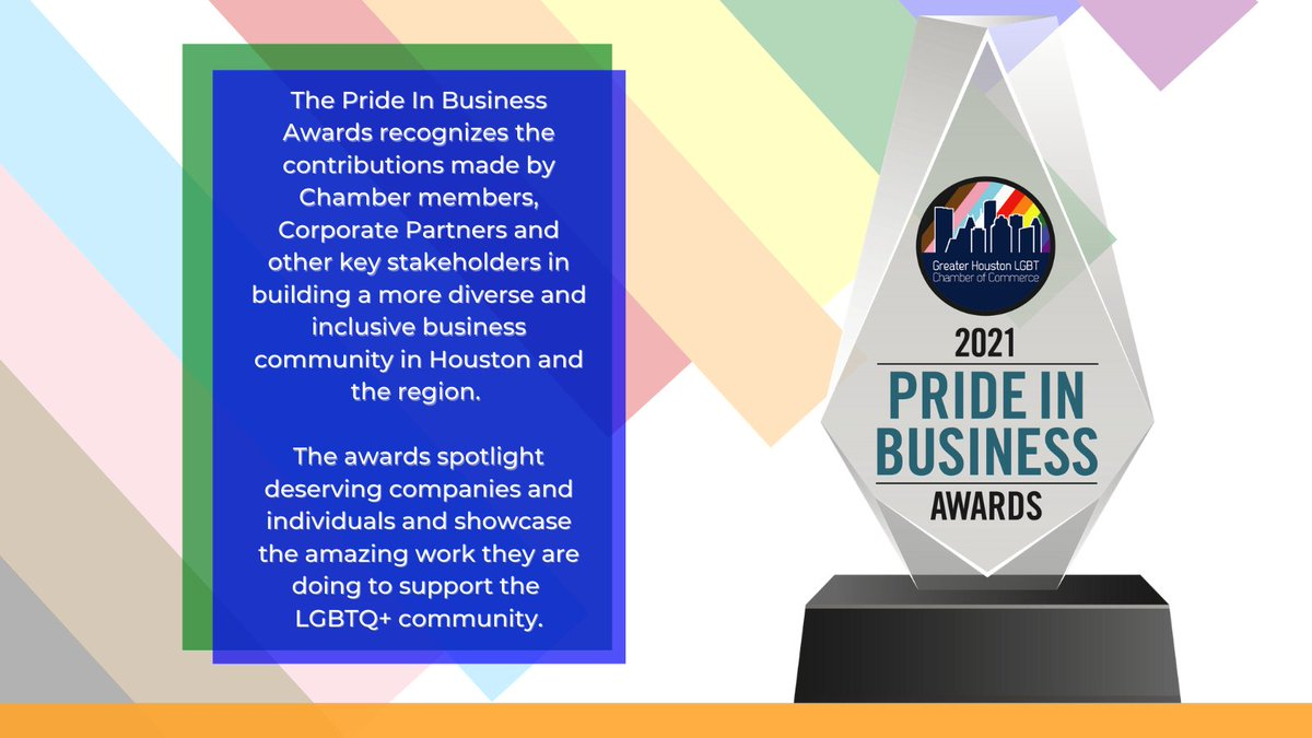 As part of #Pride Month, @HoustonLGBTCoC is hosting the inaugural Pride In Business Awards. Recognizing the contributions made by Chamber members & Corporate Partners, in building a more diverse & inclusive business community in Houston!   Register today: https://t.co/H5IhFRbqDH https://t.co/tHUawPqtMu
