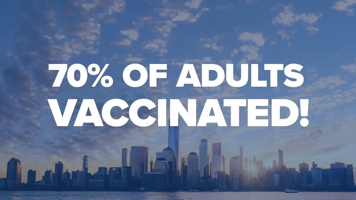 Today New York State reached our goal of 70% adult vaccination.  That means we can return to life as we know it.  Effective immediately, state-mandated COVID restrictions are lifted across commercial and social settings. https://t.co/sMdqkSJ6h5