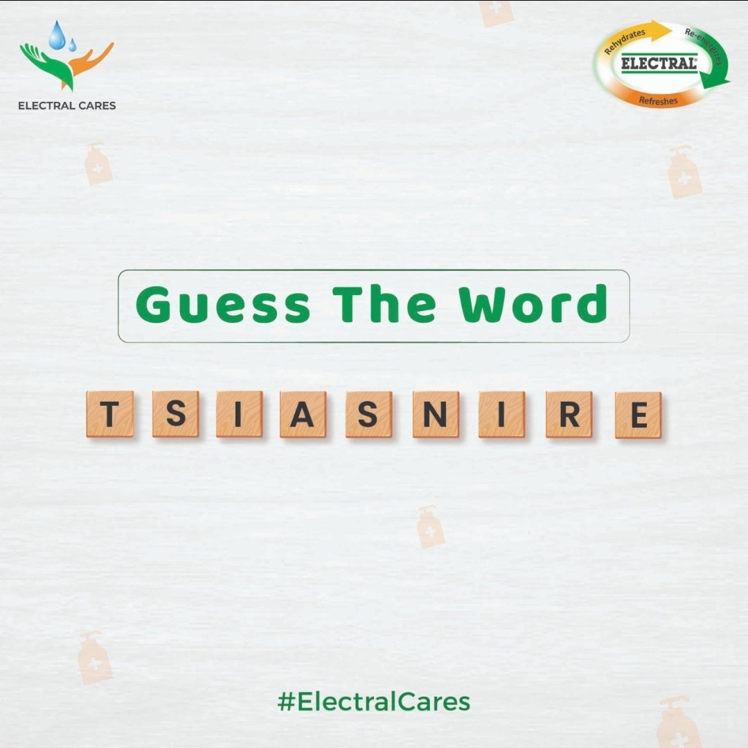 Can you guess what the word might be? If you know the correct answer, leave a comment below and stand a chance to win an Electral hamper. Tag a buddy and let them try it out too. . . . @Indian_Contests #Electral #ElectralCares #Unscramble #Jumble #Decode #Water #Hydration https://t.co/ZHUcVRRKE6
