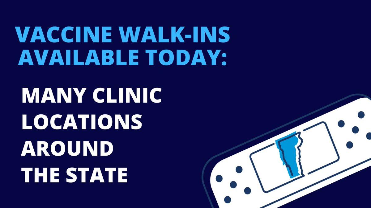 [Tuesday, June 15th] Walk-in vaccine clinics today in Castleton, Colchester, Burlington, St. Albans, Northfield, Shelburne, Essex Jct., Bennington, Barre, and Sheldon! . https://t.co/zNCUwSEx2c