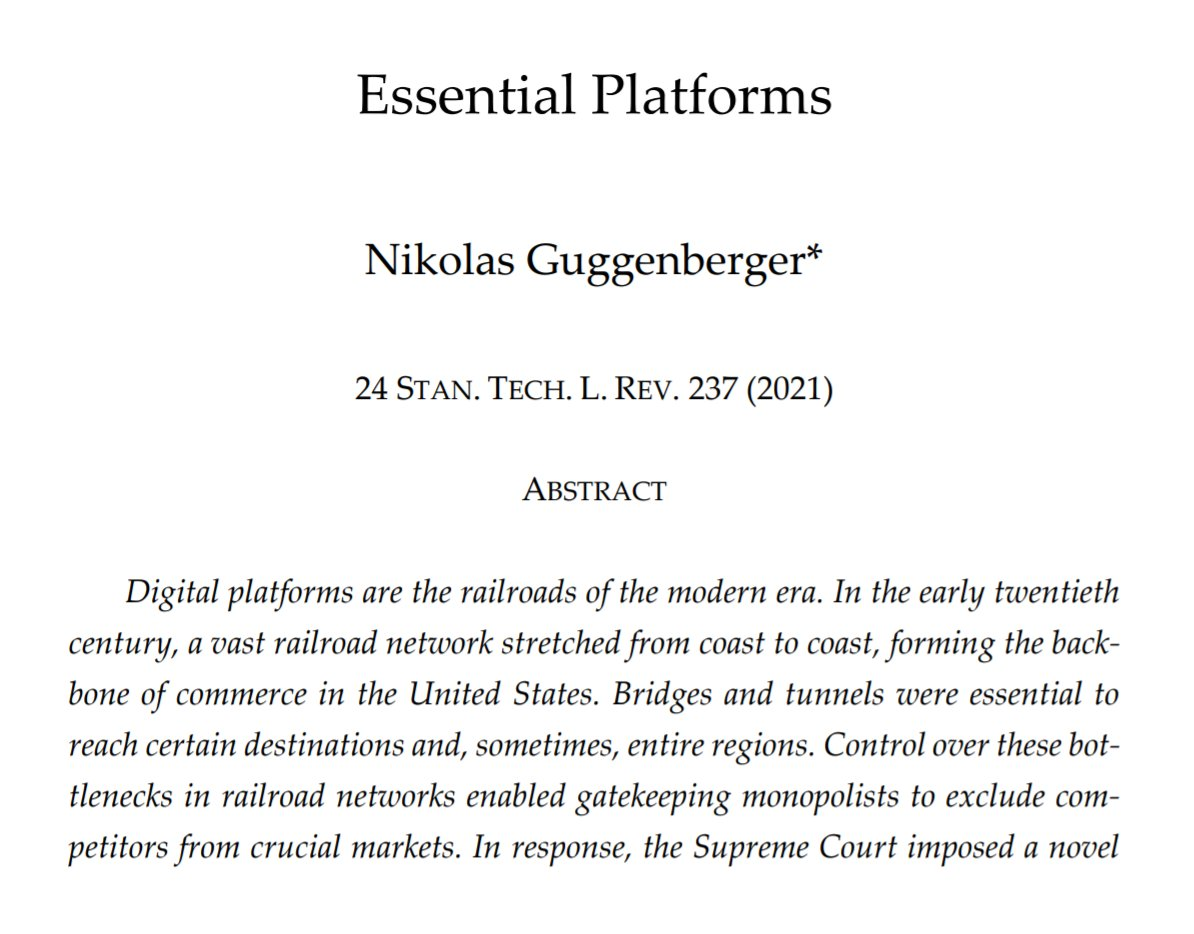 """Digital platforms have become """"economic toll bridges"""" for commerce. Treating them as essential facilities & requiring interoperability would strengthen competition online.   🔊 My piece on Essential Platforms, now published by @StanfordTechLR. #antitrust  https://t.co/8Zak04cs0Z https://t.co/Ehhinoctxx"""