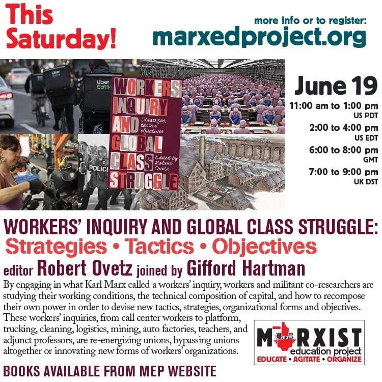 @OvetzRobert and Gifford Hartman discuss how workers inquiry can contribute to strategies for fighting back against capital. Saturday 6/19 at 2 pm US EDT / 6pm GMT. Register at https://t.co/fyBXwlK0sO https://t.co/6WqxusjzCo