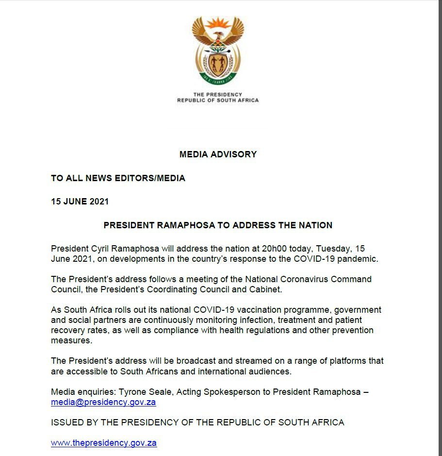 Sagovnews On Twitter President Cyrilramaphosa Will At 8pm Today Address The Nation On Developments In The Country S Response To The Covid19 Pandemic Https T Co Fsjuykmwlp