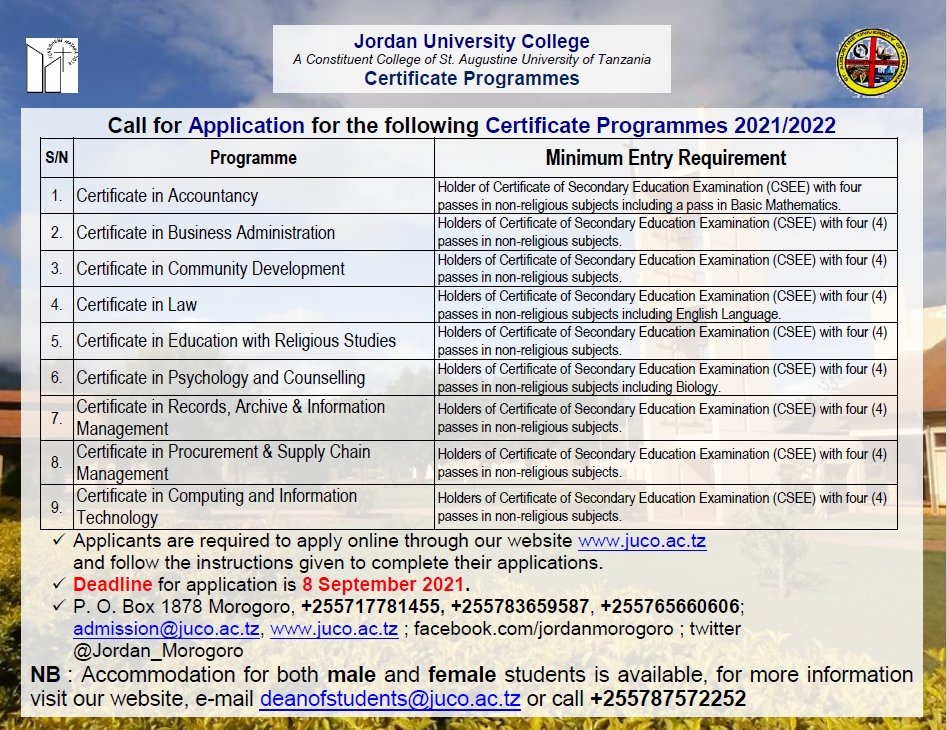 Certificate Programmes offered at JUCo #juco #qualityeducation #morogoro  #applynow https://t.co/53khuSHZBq