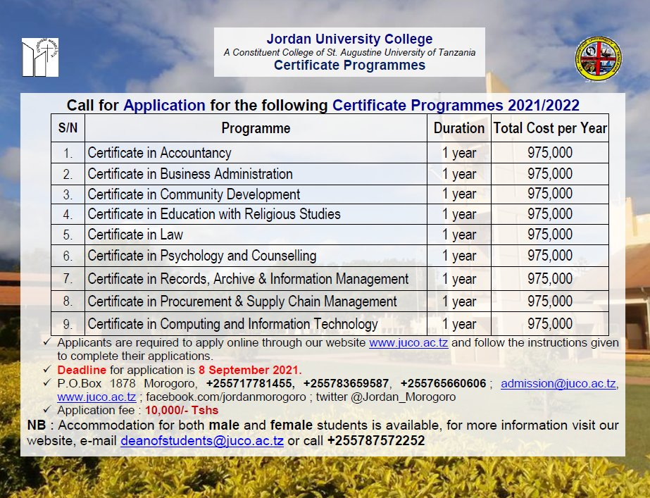 Certificate Programmes offered at JUCo #juco #qualityeducation #morogoro  #applynow https://t.co/N93tnsFld1