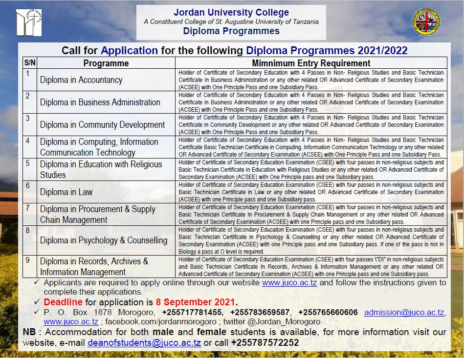 Diploma Programmes offered at JUCo Apply Now #juco #qualityeducation #morogoro  #applynow https://t.co/ldlJmiD5WY