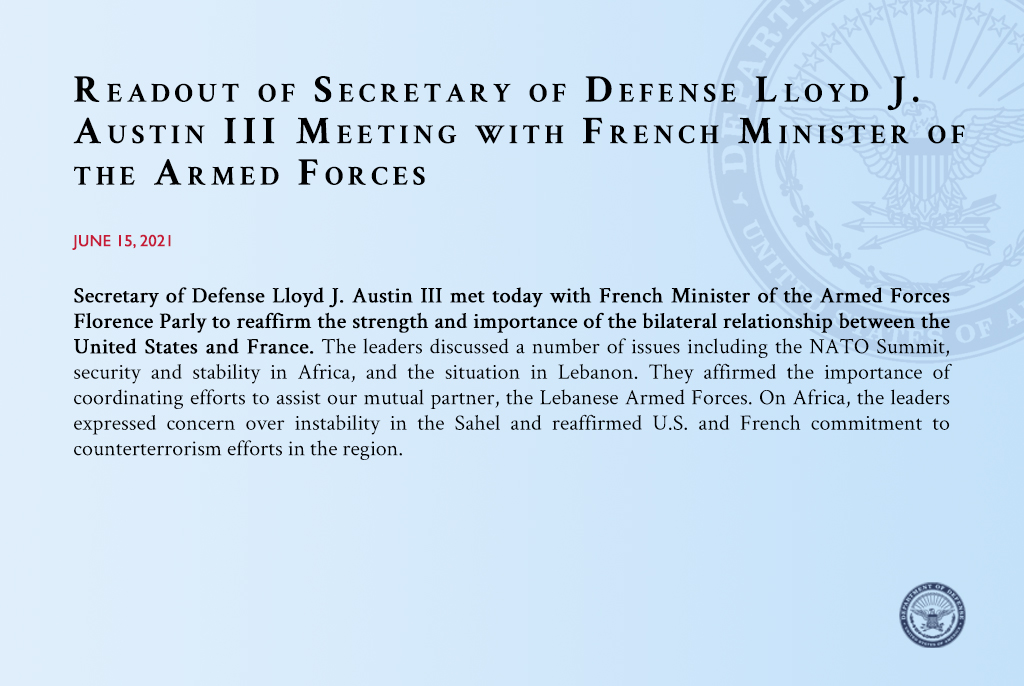 Today I met with French Minister of the Armed Forces @florence_parly in Brussels to reaffirm the strength of the U.S.-France relationship. We discussed our commitment to European security, counterterrorism efforts in the Sahel, and shared interests in supporting Lebanon. https://t.co/gTB2svb2M7