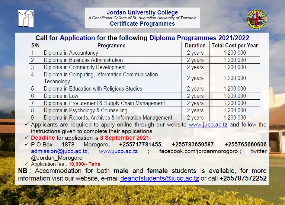Diploma Programmes offered at JUCo Apply Now #juco #qualityeducation #morogoro  #applynow https://t.co/K2tmbVQ3dg