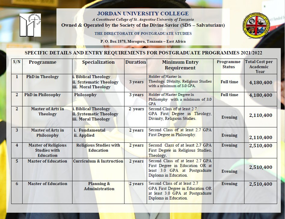Postgraduate Programmes offered at JUCo #juco #qualityeducation #morogoro  #applynow https://t.co/9QKbKhHESj