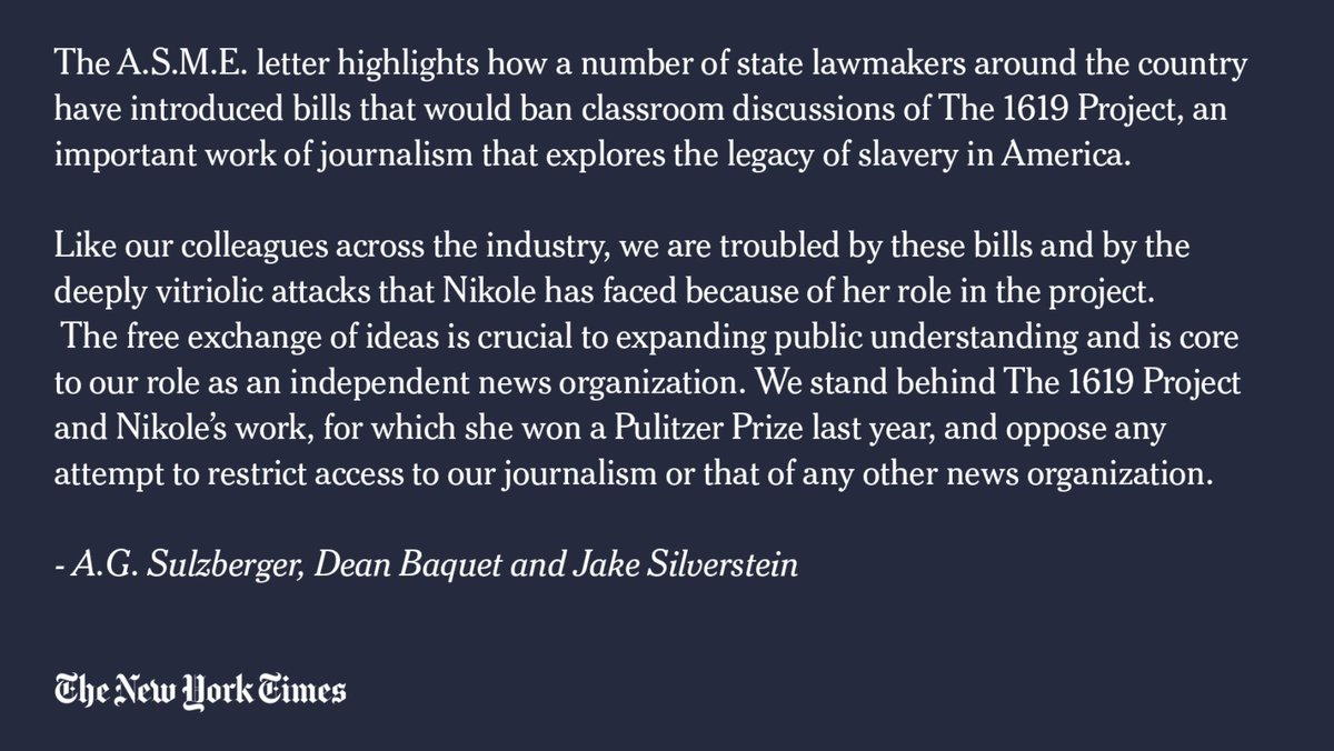 """""""We stand behind The 1619 Project and Nikole's work, for which she won a Pulitzer Prize last year, and oppose any attempt to restrict access to our journalism or that of any other news organization."""" — NYT issues a statement strongly supporting The 1619 Project and @nhannahjones https://t.co/KVZfPoK3B4"""
