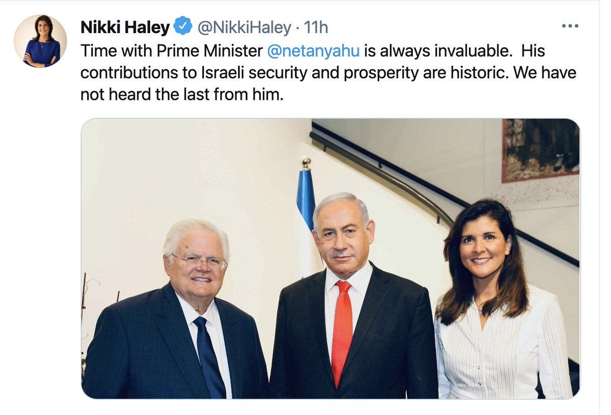 """Netanyahu is doing more than sleeping and eating at the residence. On Monday he hosted prominent guests: Nikki Haley and CUFI founder John Hagee. Haley, later tweeted a photo from the meeting inside the residence, and referred to Netanyahu as """"prime minister."""" https://t.co/i7WEG7pIon"""