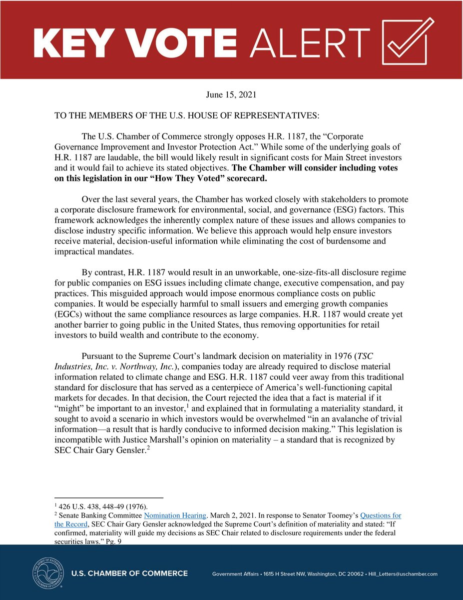 """test Twitter Media - Key Vote Alert! """"While some of the underlying goals of H.R. 1187 are laudable, the bill would likely result in significant costs for Main Street investors and it would fail to achieve its stated objectives."""" https://t.co/PfBSPNFmlY https://t.co/BZNcRiOxo2"""