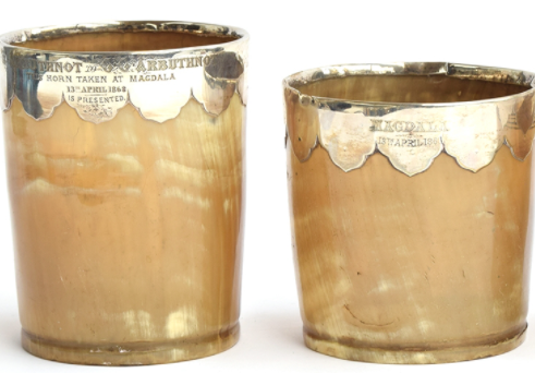 Looted horn beakers from #British #Magdala 1868 expedition  to be auctioned 17 June by @thesaleroom. Auctioneers and descendants of Major-General William Arbuthnot should agree to @EthioEmbassyUK request to withdraw these. Do the honorable thing #restitution to #Ethiopia. https://t.co/skw5zg9z5Q