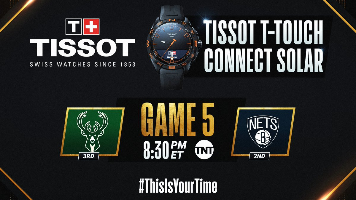 The #NBAPlayoffs continue tonight with Bucks/Nets Game 5 at 8:30pm/et on TNT. #ThisIsYourTime   🛒 Shop @TISSOT Here: https://t.co/IBgyQ5djCs https://t.co/bg5Jwq5CID