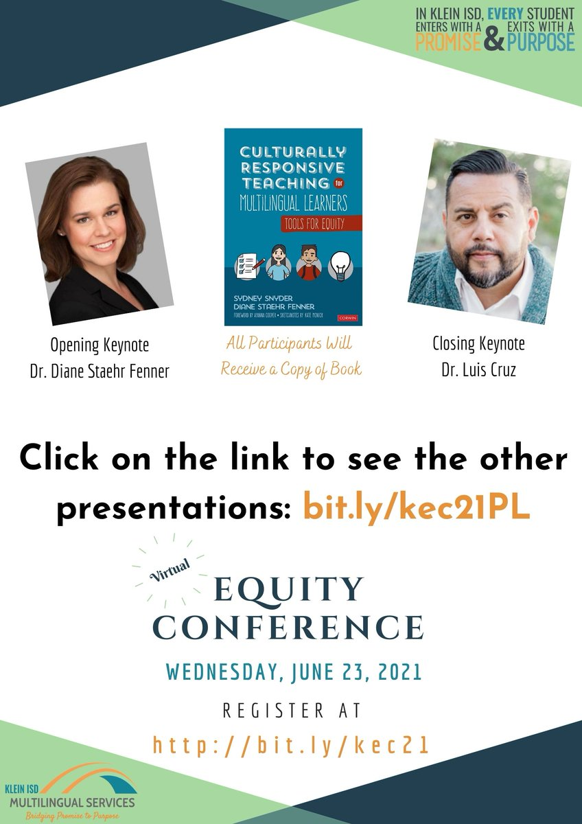 Klein Family, sign up for Klein's Virtual Equity Conference on June 23rd. Learn alongside field experts as well as Klein leaders on how WE can collectively support educational EQUITY for EVERY student.  We will focus on Mindsets, Leadership, Pedagogy, & Families. #KEC21 https://t.co/UVmgMXf2L2