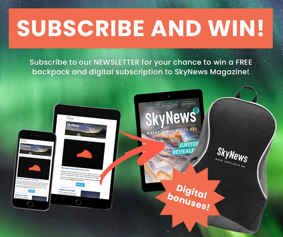 LAST DAY TO ENTER!! This week, we will select one lucky #SkyNews newsletter subscriber to win a free backpack and e-edition subscription!  Not a subscriber?  For more information click here: https://t.co/kfVeX6zKhU  #stargazing #space #astronomy #skynewsmagazine #astronomycanada https://t.co/BroB8Ps1nb