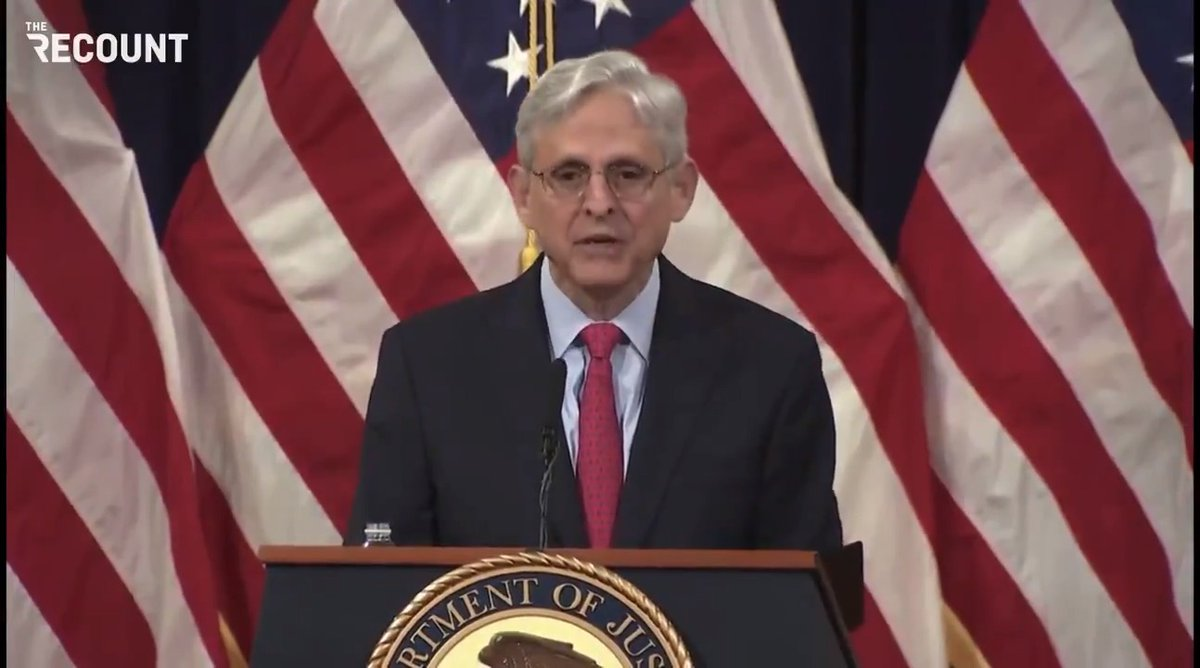 """AG Merrick Garland: """"In the FBI's view, the top domestic violent extremist threat comes from racially or ethically motivated violent extremists specifically those who advocate for the superiority of the white race.""""   https://t.co/4JtruuMSv2"""
