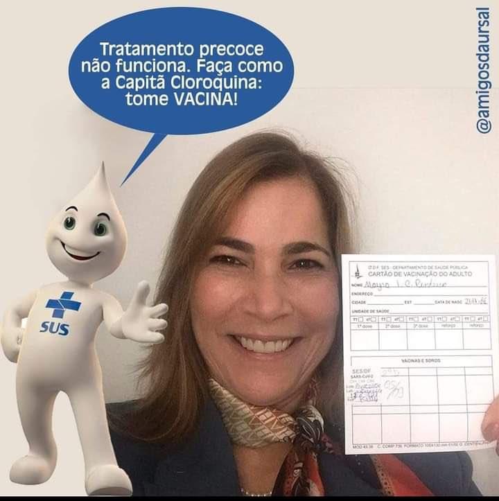 TRATAMENTO PRECOCE NÃO FUNCIONA! FAÇA COMO A CAPITÃ CLOROQUINA: TOME VACINA!! #VacinasSalvam #AntiVacinaMata https://t.co/r3KjuWssmG