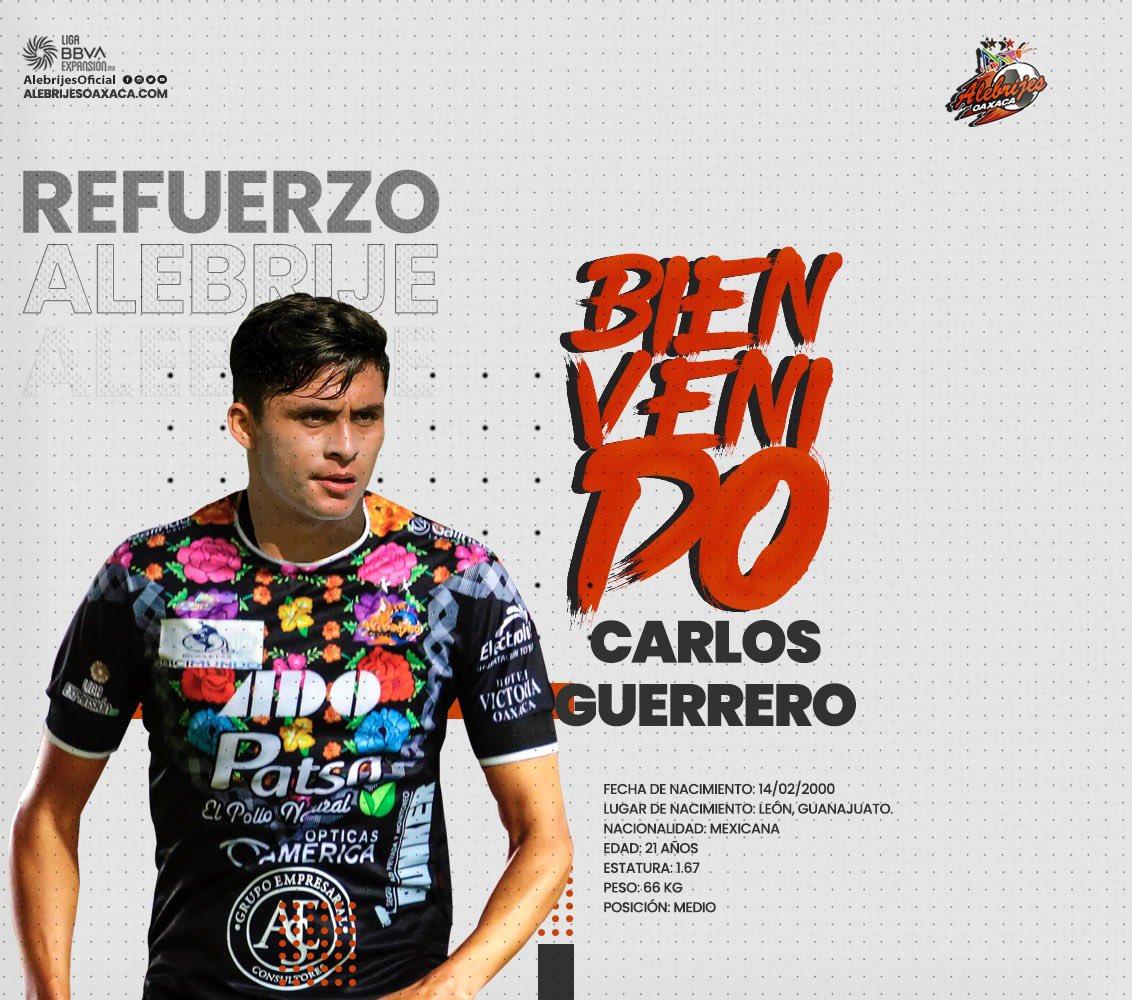 ⚠️⚽️| Le damos la bienvenida a nuestro nuevo jugador: Carlos Guerrero mediocampista proveniente de @Tuzos   Sabemos que su entrega en la media cancha será vital en nuestro equipo 👊🏼🔥  #AlebrijesEsOaxaca💚🖤🧡 #Alebrijes🦗 https://t.co/I7gGLV28qw
