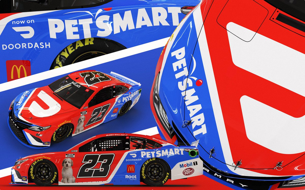 My dude is in a paint scheme! Shout out to @DoorDash / @PetSmart  for allowing Asher to reach peak good boy status. #TeamToyota https://t.co/V2zLogGQVV