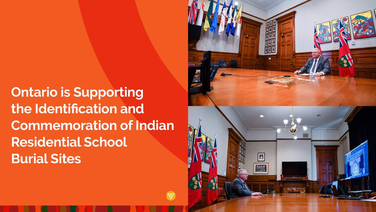 Ontario is taking action to support the investigation of residential school burial sites.  We are partnering with Indigenous elders, communities & residential school survivors to advance this critical work & ensure support is available at every step.  https://t.co/VXAEpeoNT9 https://t.co/dFLG5dKnQx