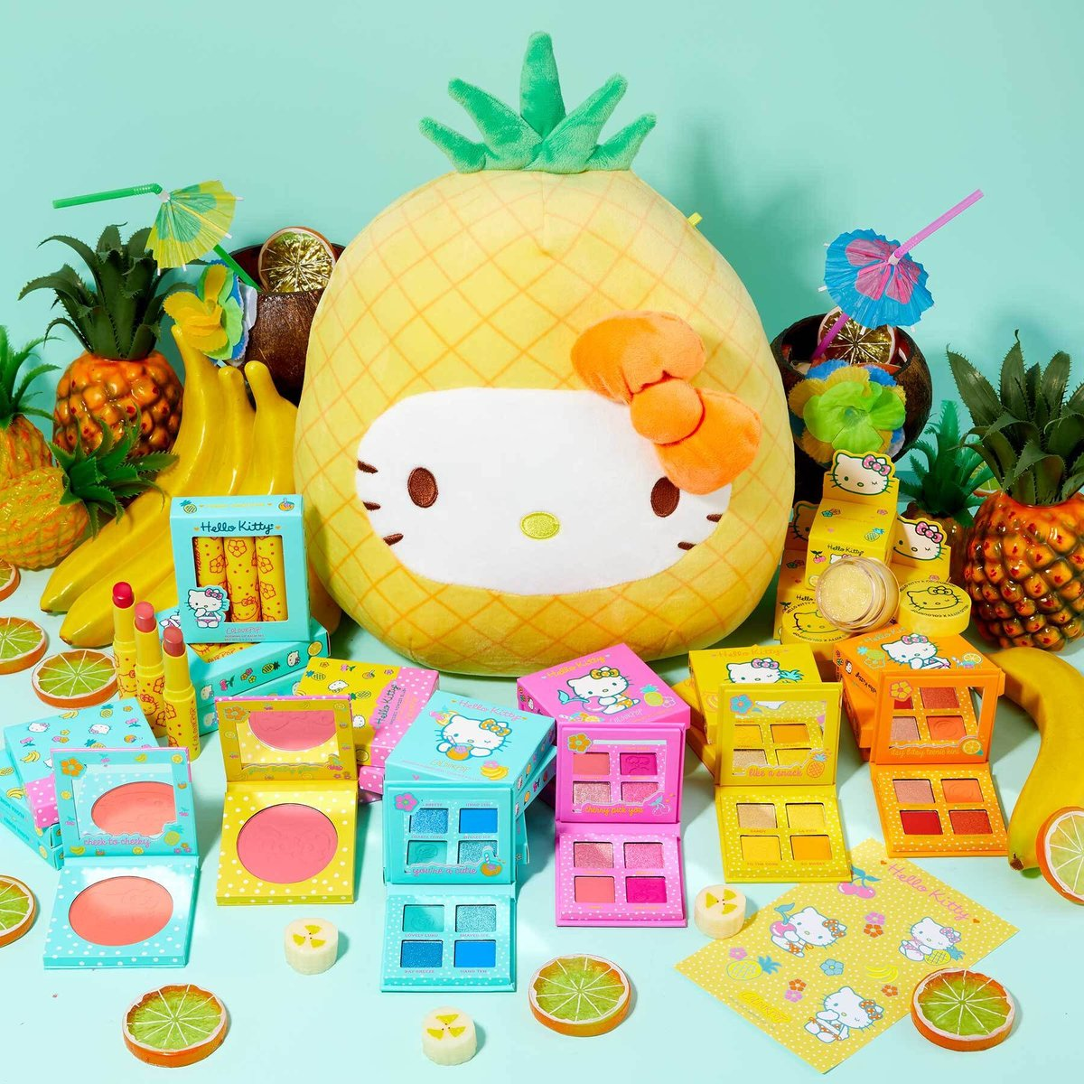 #GIVEAWAY ☀️🍍🌴 5 lucky winners will receive the full  Hello Kitty Tropical Escape Collection + Hello Kitty Pineapple Squishmallow!  1. Like & RT 2. Follow @ColourPopco  + @hellokitty  See the link in our bio for complete sweepstakes rules. GOOD LUCK! https://t.co/iZGEvrp4V0