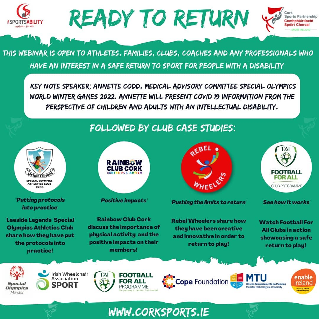 Ready To Return details announced & what a line up! 💥 This webinar is open to Athletes, Families, Clubs, Coaches or any Professionals who have an interest in a safe return to activity for people with disabilities 🙌   Book Your Place now! To Register: https://t.co/C4Kip8zi0i https://t.co/te3oOuNAUa