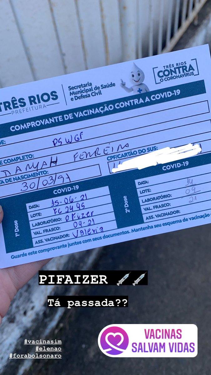 Tô vacinada, porra!!!! PIFAIZER, tá passada???? https://t.co/Imsp2LObdJ