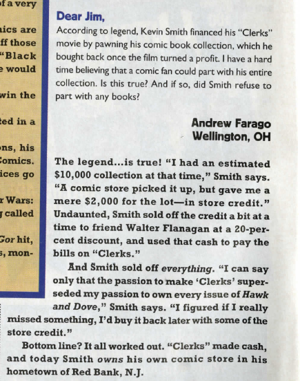 I remember emailing @McLauchlin the answers for your questions, @andrewfarago! Jim made me famous in comics with every issue of WIZARD he worked on! They even did a Kevin Smith Special magazine one-shot, that made me feel like I was a circa-70's teenage heartthrob in Tiger Beat!