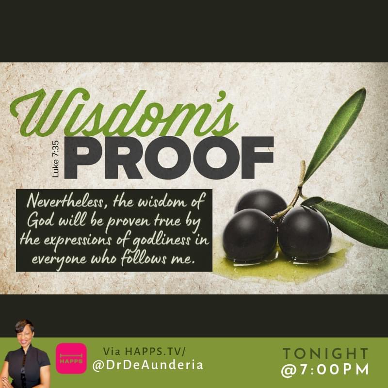 Second run - Luke 7 pt. 2  Last week we never got to the lesson... being spirit-led means that my agenda takes a back seat.  TONIGHT #Wisdom is our focus. Deeds are evidence produced by your actions, because wisdom does not seek testimony of words, but of deeds. #ShowNotTell https://t.co/bd0SmgkaIW