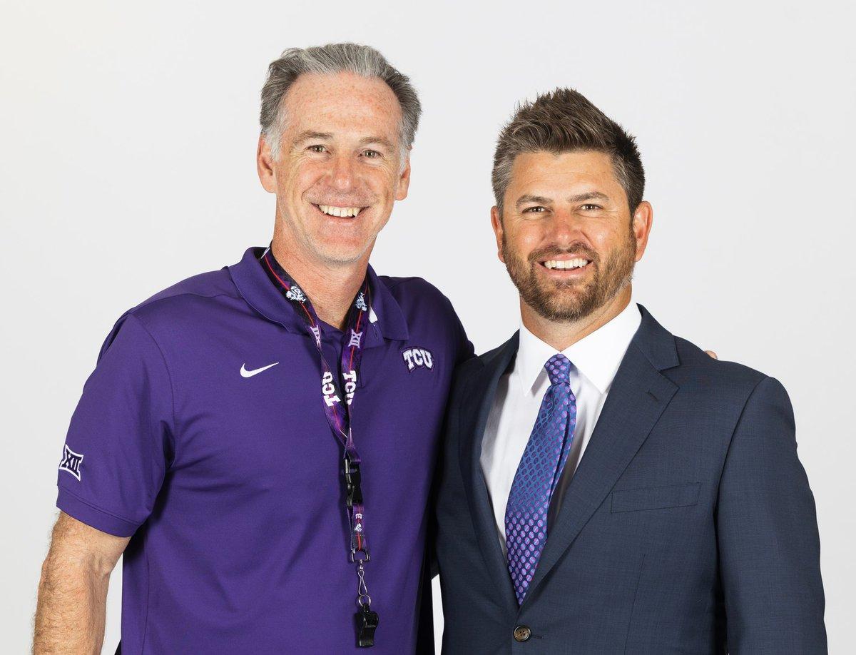 The new man in charge! Congratulations @kirk_saarloos, new @TCU_Baseball head coach!  #GoFrogs https://t.co/RkTt65sDmH