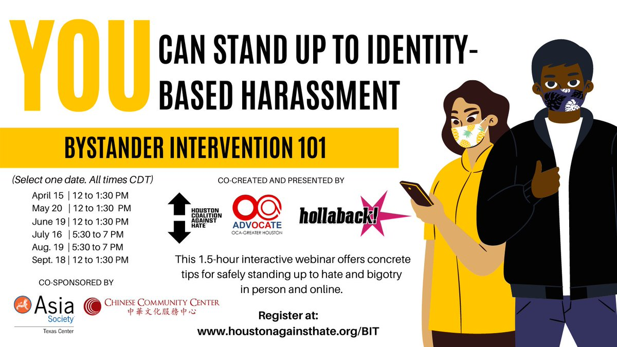 There's still time to register for this Saturday's free Bystander Intervention Training workshop! We're proud to co-sponsor these workshops presented by @HCAH_TX, @OCAHouston, and @iHollaback » https://t.co/6e8PfUnEpY https://t.co/E7cm5mmLO0