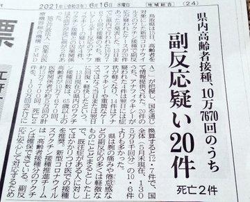 ワクチンの危険性を鳥取県民の一人として発信してきたが、やはり現実となってしまった。高齢者の方2名が死亡。副反応20件。非常に残念でならない。これを推奨してきた国県...