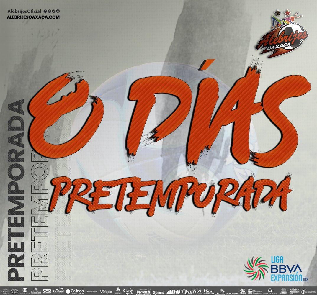 ⏳⚽️| Cada vez falta menos para regresar a la actividad 🔜 #Apertura2021 de la @LigaMXExpansion   ⚠️| Estamos a 8 días de la #PretemporadAlebrije👊🏼🦗  #AlebrijesEsOaxaca💚🖤🧡 #Alebrijes🦗 https://t.co/PJmvNc4ZeT
