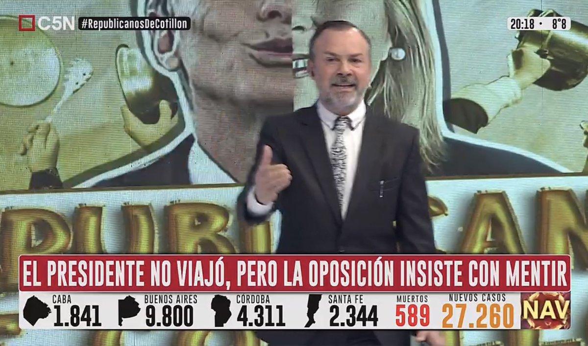 RT @rating_politico: 📊📈 Lidera con pico de 4,1 @C5N con el editorial de @Gatosylvestre https://t.co/GgPdDbYLM3