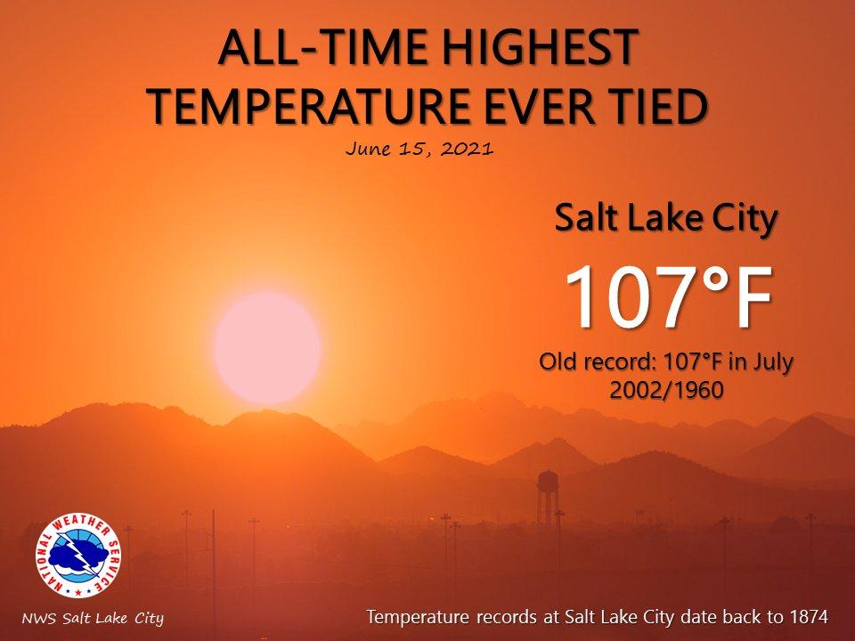 Une vague de #chaleur précoce concerne également l'ouest des USA avec 41.7°C relevé à Salt Lake City, ce qui égale le record absolu de température, tous mois confondus.