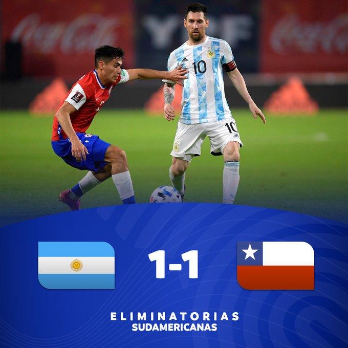Skor akhir Argentina 1-1 Chile