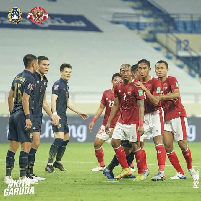 Pertandingan Timnas Indonesia vs Thailand yang berakhir imbang 2-2