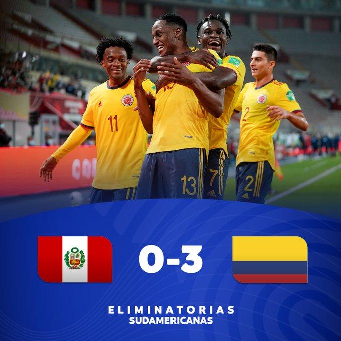 Skor akhir Peru 0-3 Kolombia